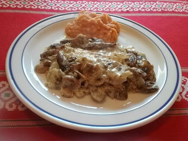 Filets de cabillaud aux champignons et purée de patates douces1