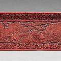 A carved red lacquer rectangular tray. Ming dynasty, late 16th / early 17th century