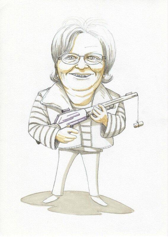 Caricature La Championne de tir à la carabine