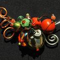 collier tour de cou orange et vert