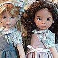 Léonie et Naïs en rose et gris