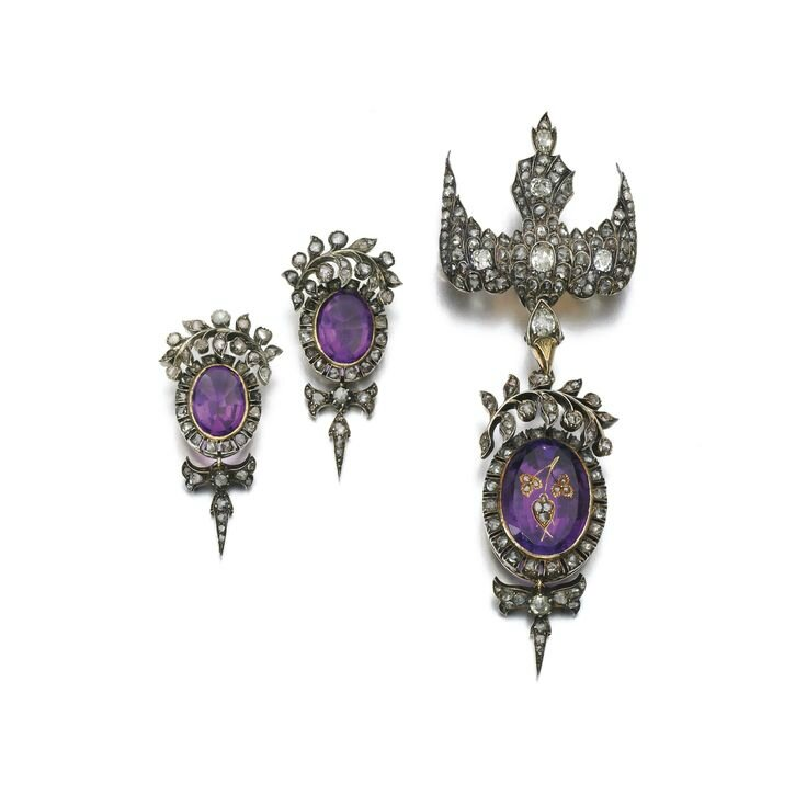Amethyst and diamond demi-parure, early and mid 19th century