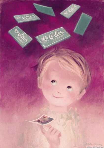 Boy-an-image-in-the-hand-dreaming-at-chocolate-bars-dancing-over-his-head-on-a-light-and-dark-pink-background