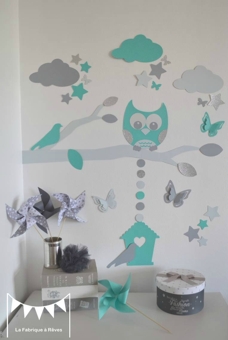 stickers d coration chambre enfant gar on b b branche cage oiseau hibou oiseaux toiles gris. Black Bedroom Furniture Sets. Home Design Ideas