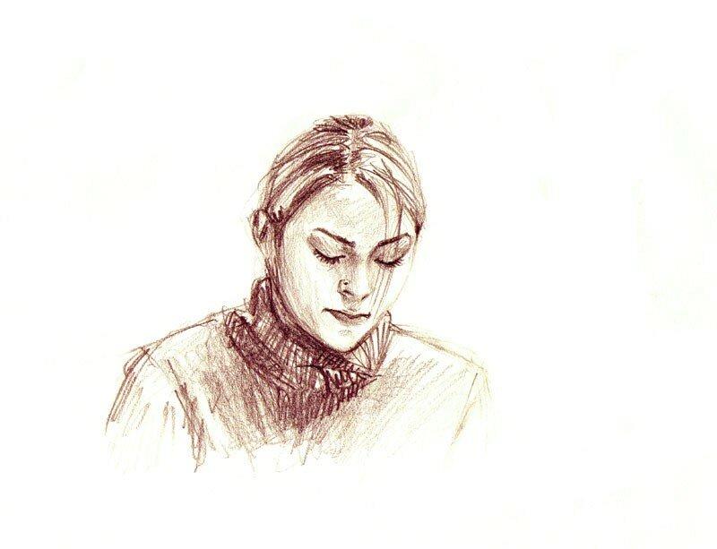 Myriam en train de dessiner