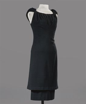 A cocktail dress of black wool crepe. Cristobal Balenciaga, 1960
