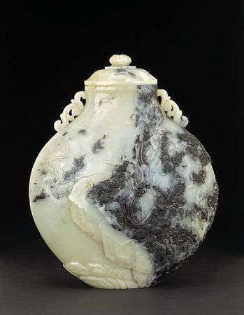 A_rare_black_and_white_nephrite_covered_vase