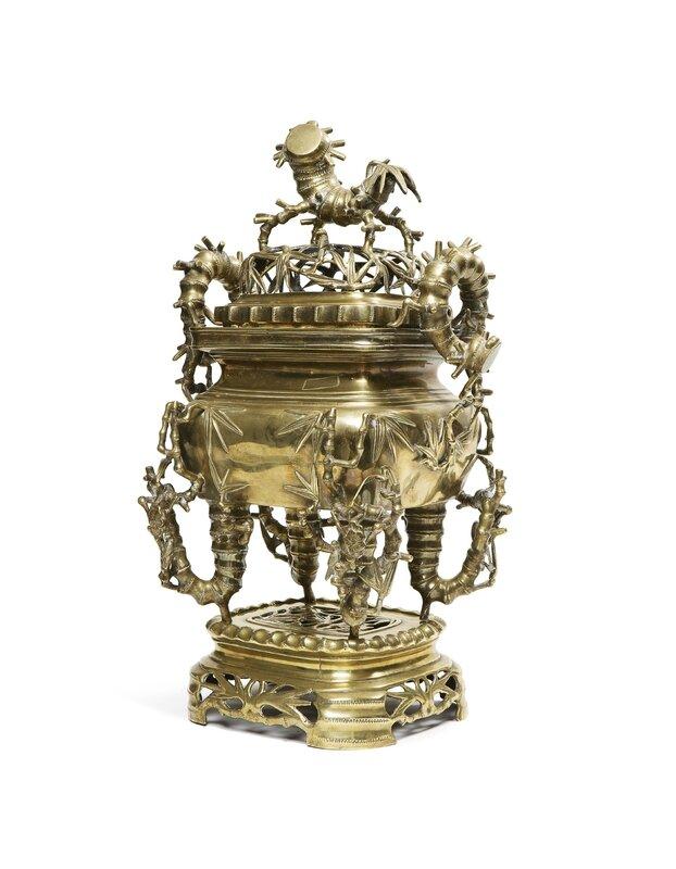 Brûle-parfum en bronze de patine doré en trois parties, Vietnam, fin du XIXe siècle
