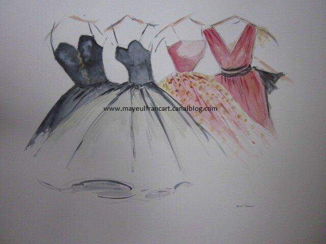 """Une nouvelle aquarelle : """"Quatre robes""""..."""