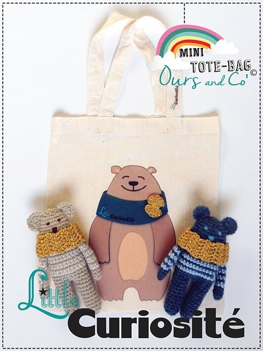 Sac MiniTote Bag Enfant - Coton - Bear - Ours + Noeud or crochet - Doudou Ours crochet - Fait main © Little Curiosité