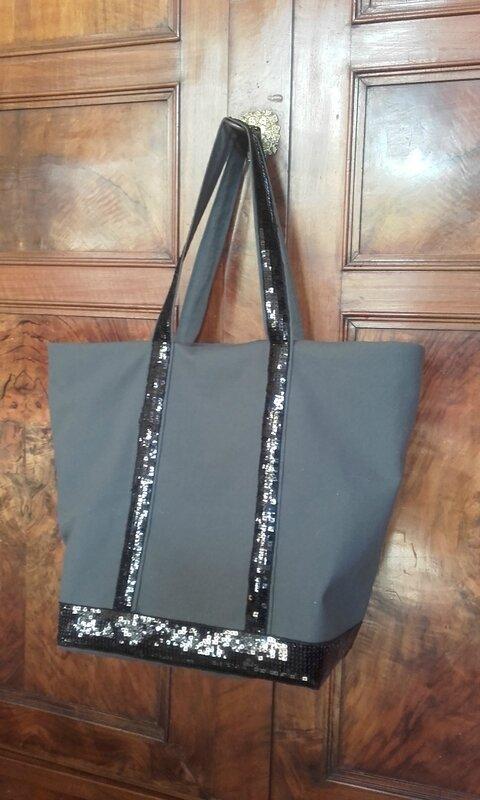 sac à paillettes VB noir et gris