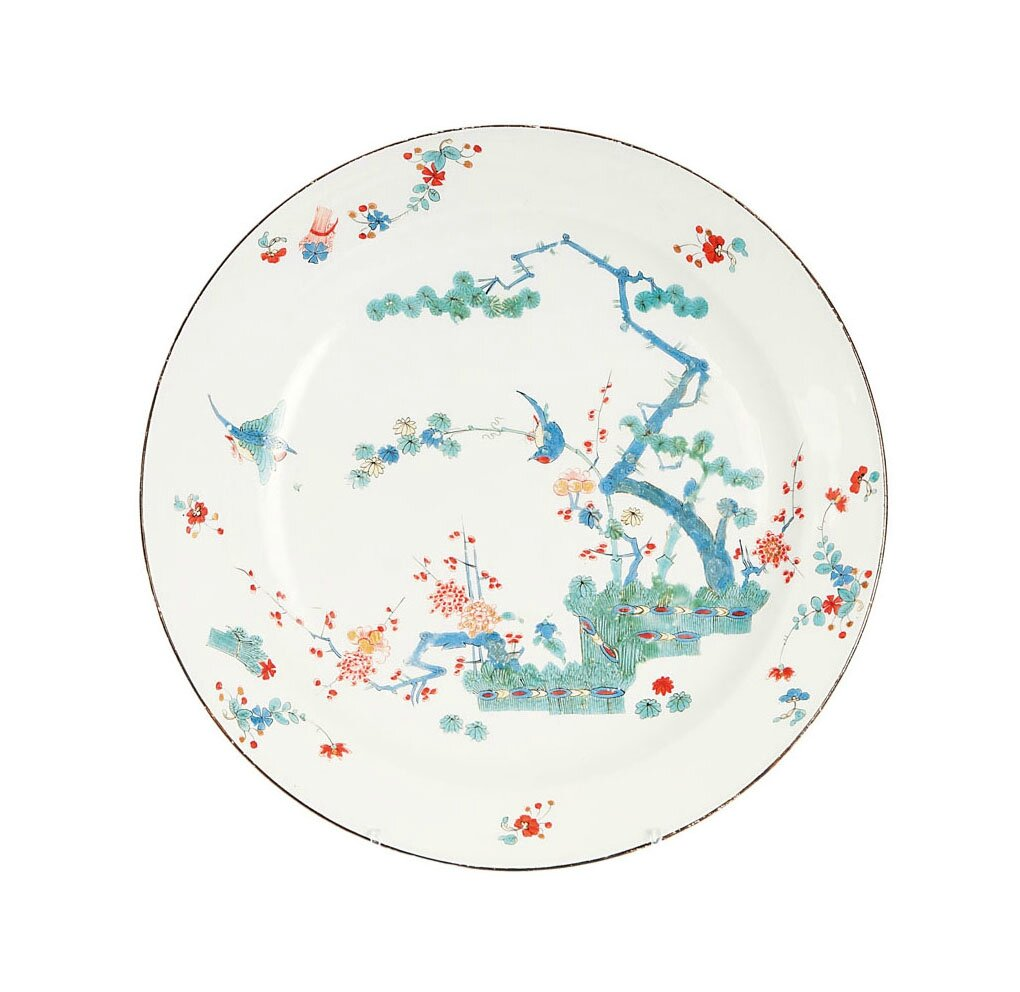 A plate decorated with 'Three friends', Meissen, around 1740