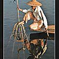 Belle image de pêcheur du lac inlé