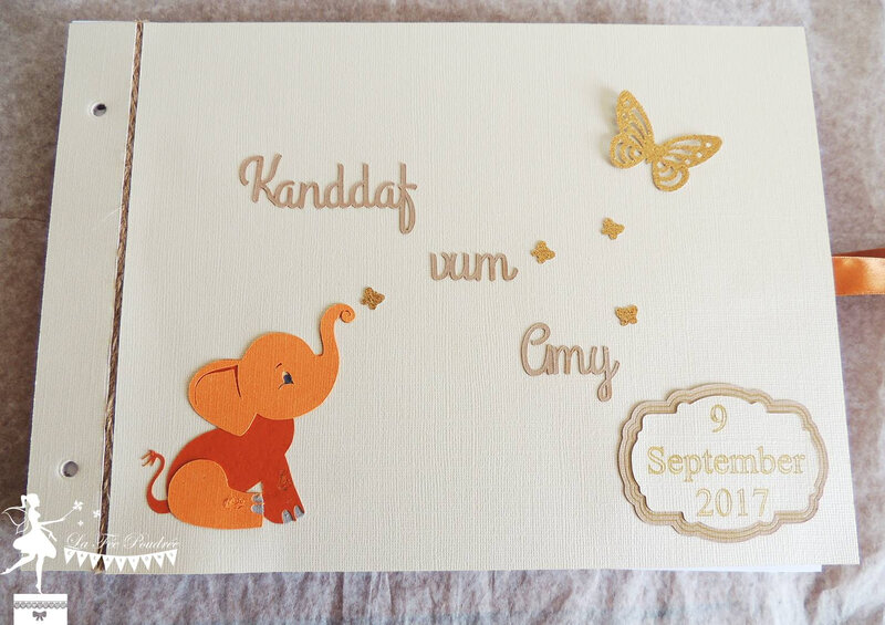 livredor bapteme elephant papillon kraft orange ivoire dore