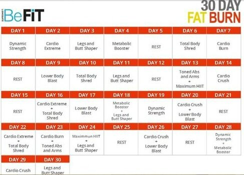 Be fit 30 day fat burn calendrier