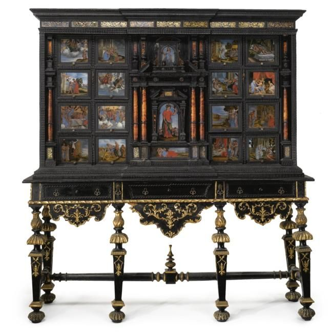 An italian baroque reverse painted verre glomis and for Baroque 2 door accent cabinet