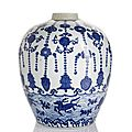 A rare blue and white porcelain jar, China, underglaze blue Wanli six-character mark and period.