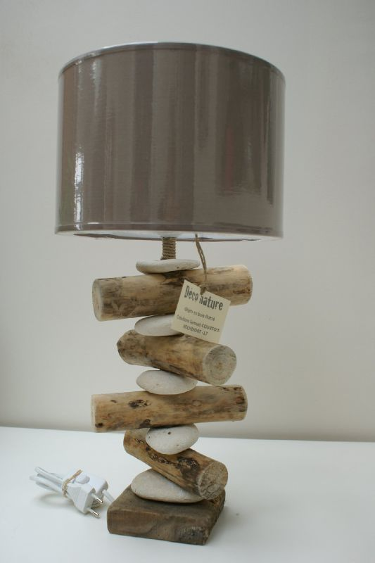 D co nature cr ations en bois flott for Lampes en bois flotte