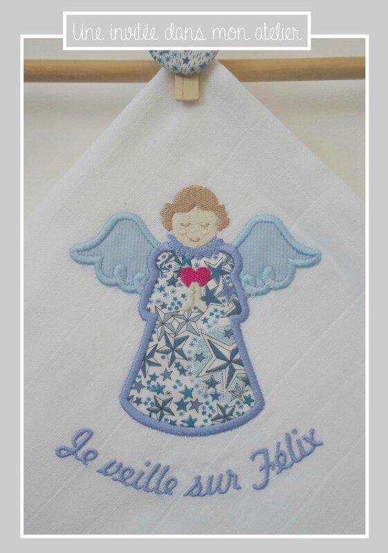 lange-personnalisé-ange gardien-Liberty-adelajda bleu