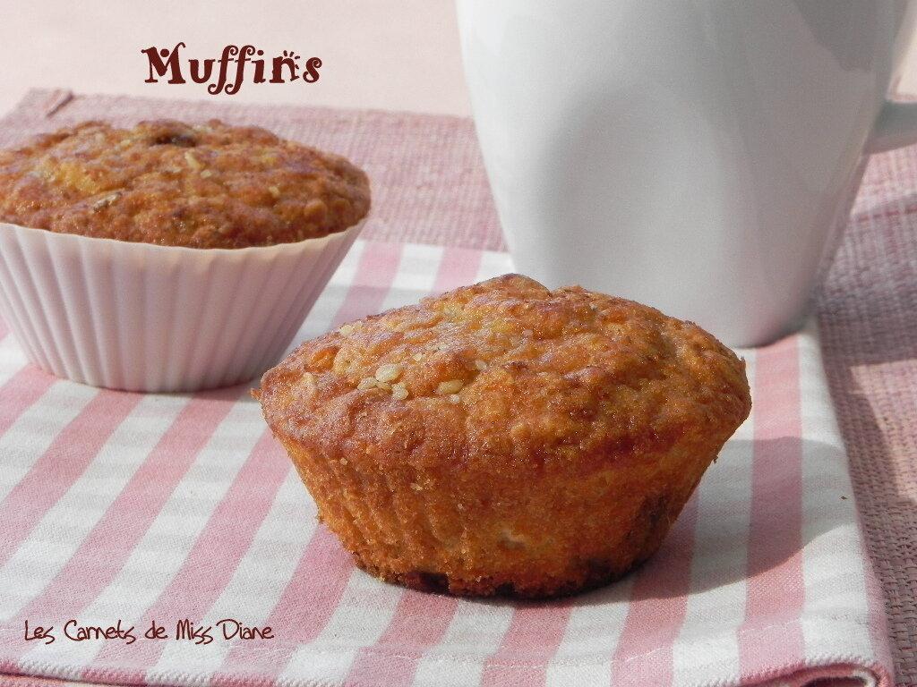 Muffins aux raisins et à la compote de pommes, sans gluten et sans lactose