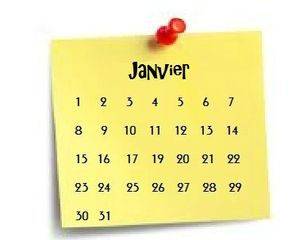 calendrier janvier