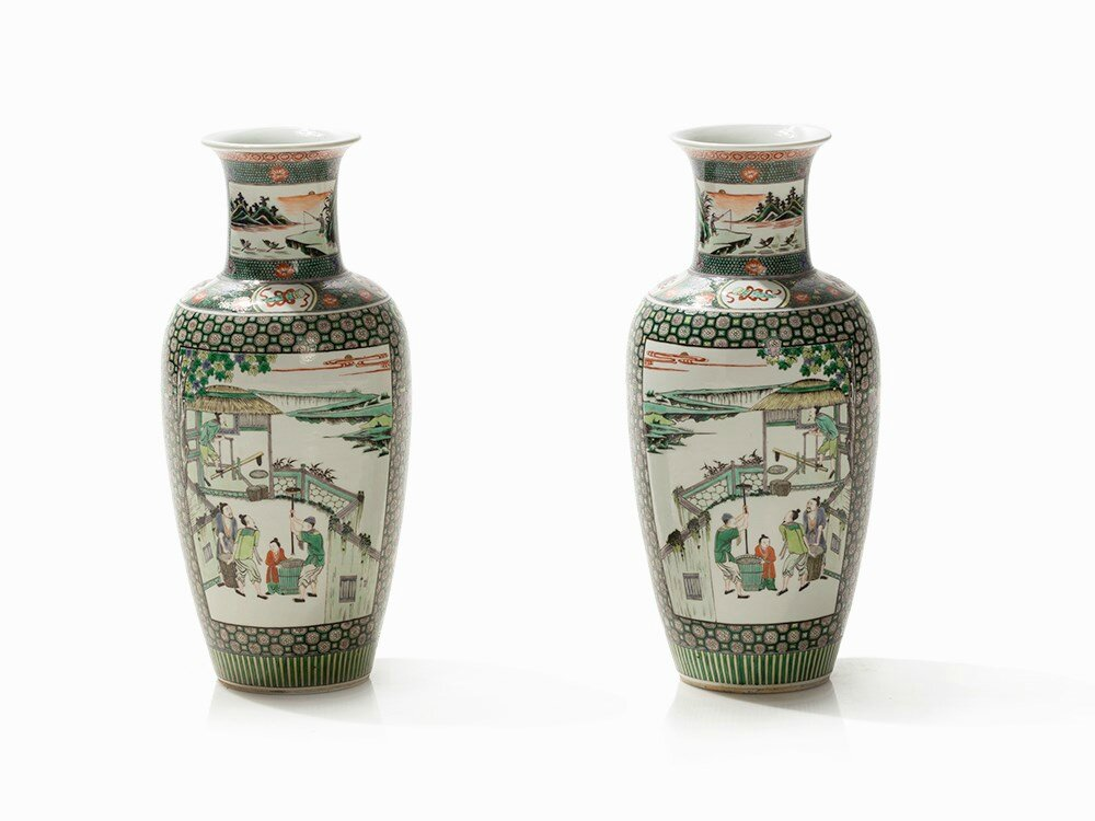 Pair of Famille Verte Baluster Vases, 18th-19th century