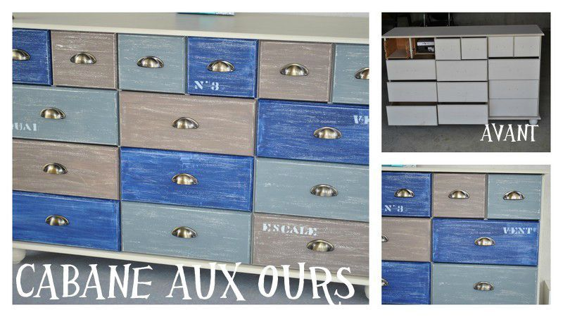 relooking d 39 un meuble esprit bord de mer la cabane aux ours. Black Bedroom Furniture Sets. Home Design Ideas