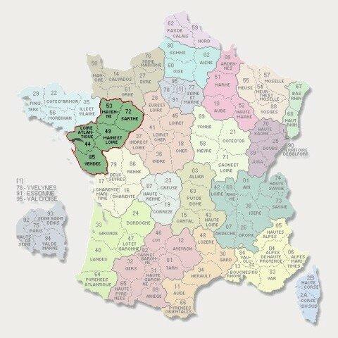 Carte des départements