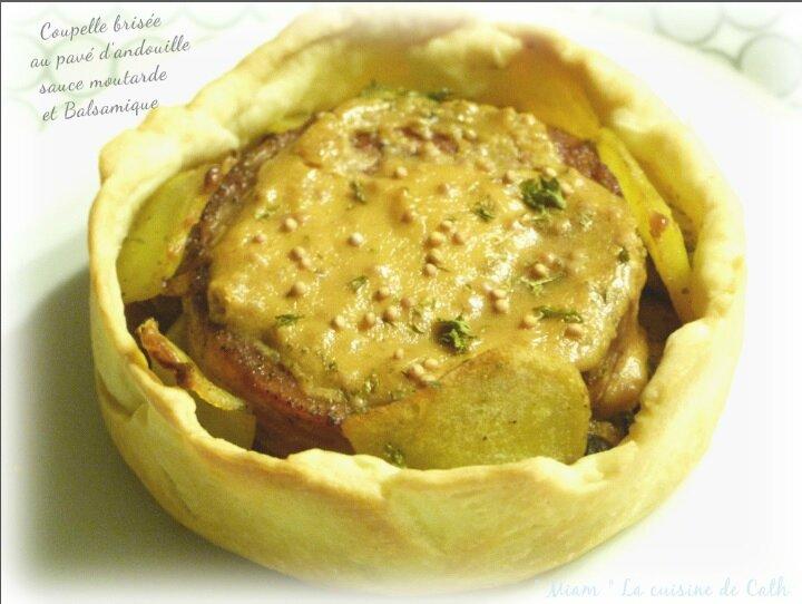 """ღ """" Miam """" Coupelle brisé au pavé d'andouille sauce moutarde et balsamique"""