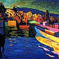 Wassili kandisky paysage d'automne avec bateaux