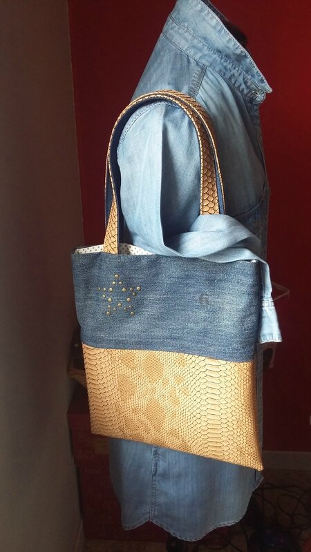 tote bag jean et dragon camel face