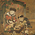 Children Cooking Pao-tzu, anonymous, Yüan dynasty, Hanging scroll