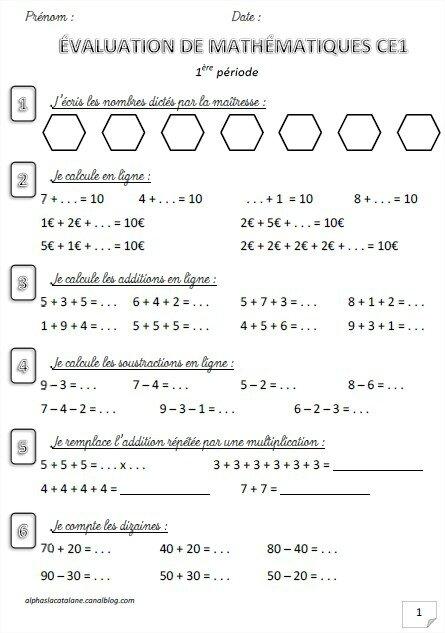 EVAL p1 maths CE1 (LaCatalane)
