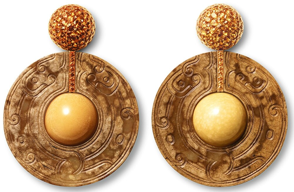 Melo and brown diamond earrings, made and designed by Hemmerle, Munich, Germany, 2001