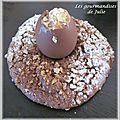 Dessert de pâques : moelleux choco-noisette, oeuf garni de mousse spéculoos
