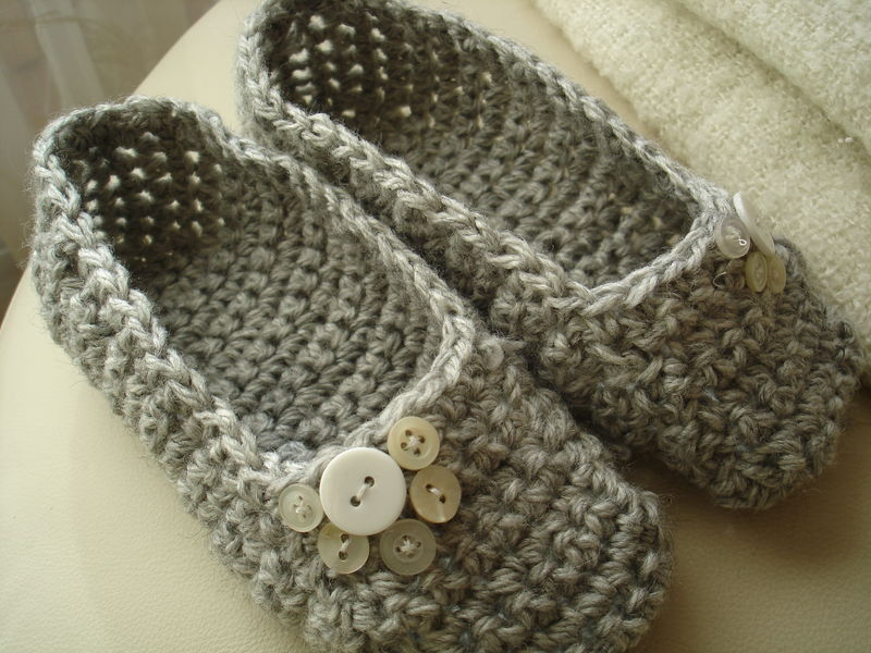 chaussons au crochet pour madame ou mademoiselle recyclage et cie. Black Bedroom Furniture Sets. Home Design Ideas