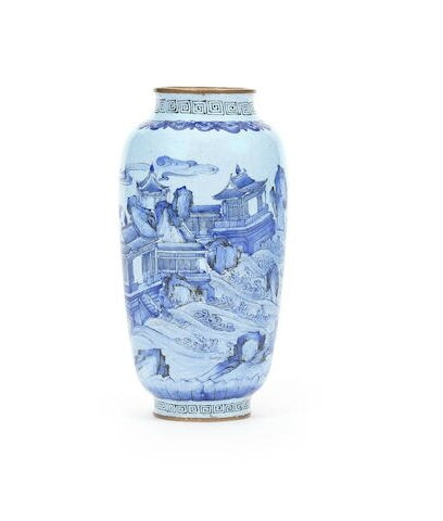 A painted enamel 'immortal island' vase, Qianlong four-character seal mark and of the period