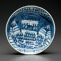 A blue and white shallow bowl, Tianqi period (1621-1627)