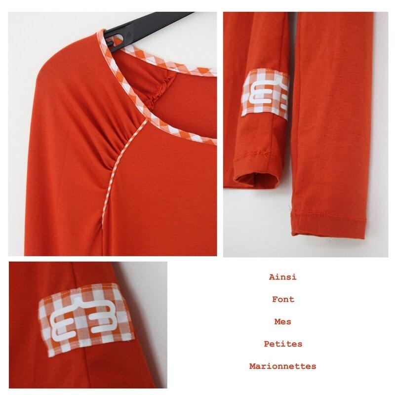 tee shirt fronce orange 2