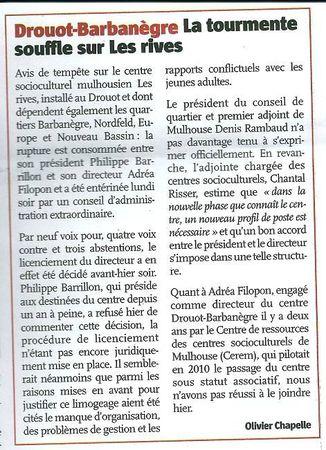 Article journal l'Alsace 1 février 2012