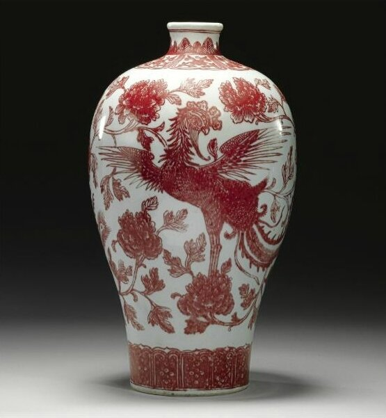 A rare underglazed copper-red 'Phoenix' meiping, Qing dynasty, 18th century