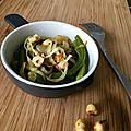 Salade de haricots verts, noisettes et parmesan