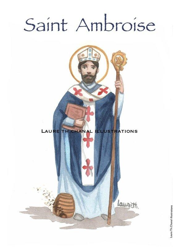 Aquarelle originale de saint Ambroise, évêque de Milan