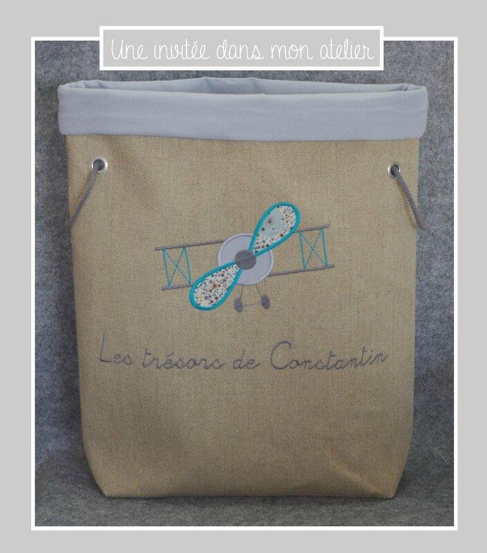 panier à jouets-personnalisé-grand format-Liberty adelajda brwon and blue