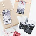 Idées de paquets cadeaux : les étiquettes montagnes sous la neige (gratuit - à imprimer)