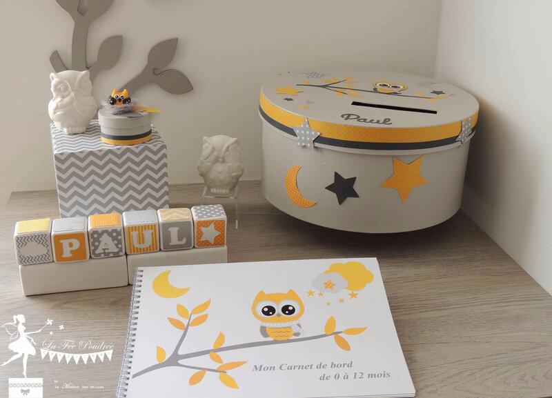 carnet naissance boite souvenir a dent cubes prenom decoration chambre enfant theme hibou