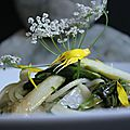 Spaghettis aux asperges et salsifis sauvages, huile d'olive et feuilles de carvi