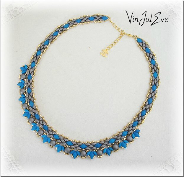collier Arawa turquoise gris or 1