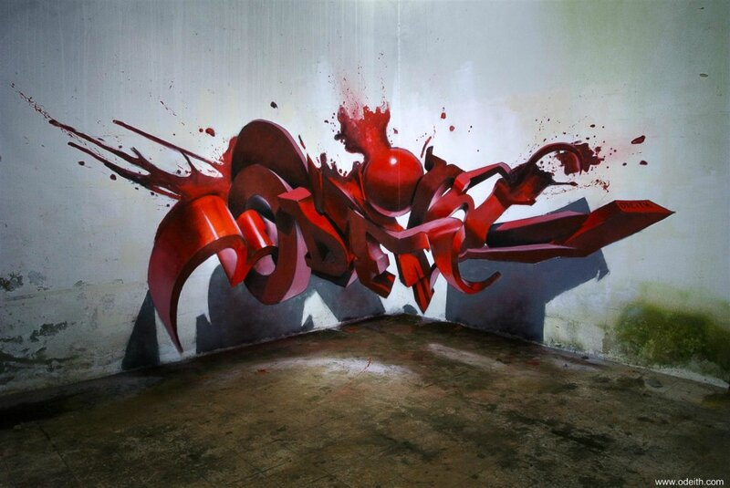 Odeith-bloody-Anamorphic-3D-Graffiti-Letters-red-drips