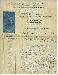 Courrier de Léon Berthaut a Daniel Thomas 1